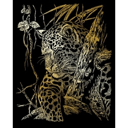 Set gravura pe folie aurie - Leopard