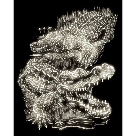 Set gravura pe folie fosforescenta - Crocodil