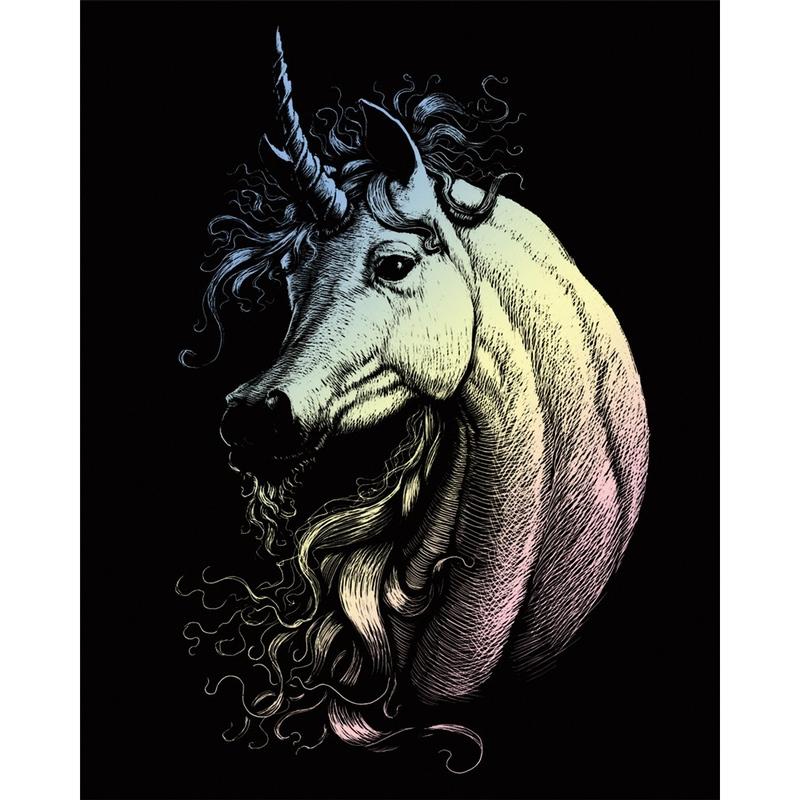 Set gravura pe folie holografica - Unicorn
