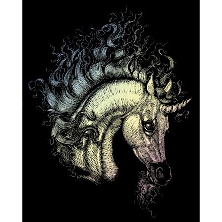 Set gravura pe folie holografica - Unicorn arab