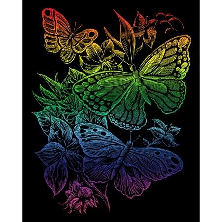 Set gravura pe folie curcubeu - Fluturi