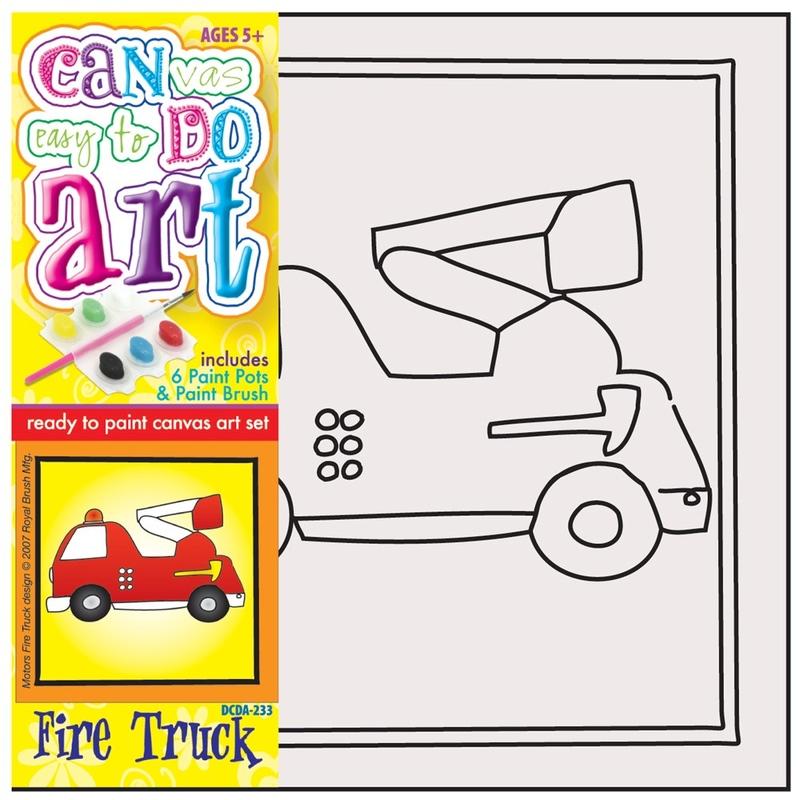 Pictura pe panza pentru copii Masina Pompieri