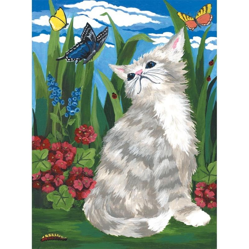 Prima mea pictura pe nr.junior mic - Pisici si fluturi