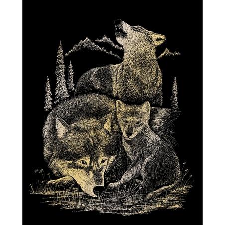 Set 3 gravuri folie aurii Animale salbatice