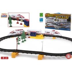 Jucarie trenulet cu 2 locomotive si 1 vagon