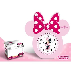 Ceas masa din lemn funda roz Minnie Mouse