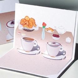 Coffee. Felicitare 3D Cafea- o felicitare care poate fi un cadou perfect la micul dejun