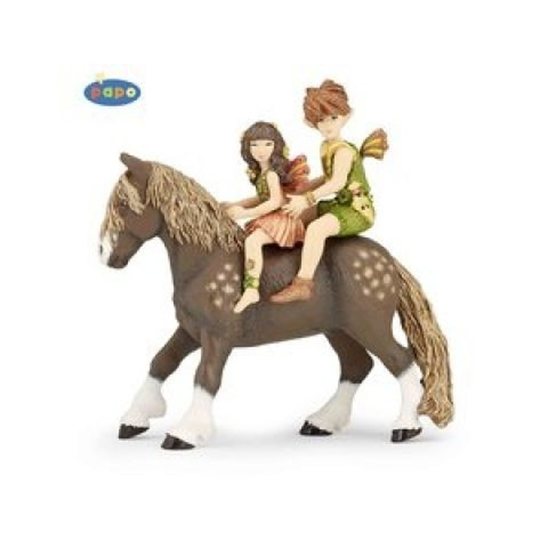 Set figurine Papo-Copii elf si ponei