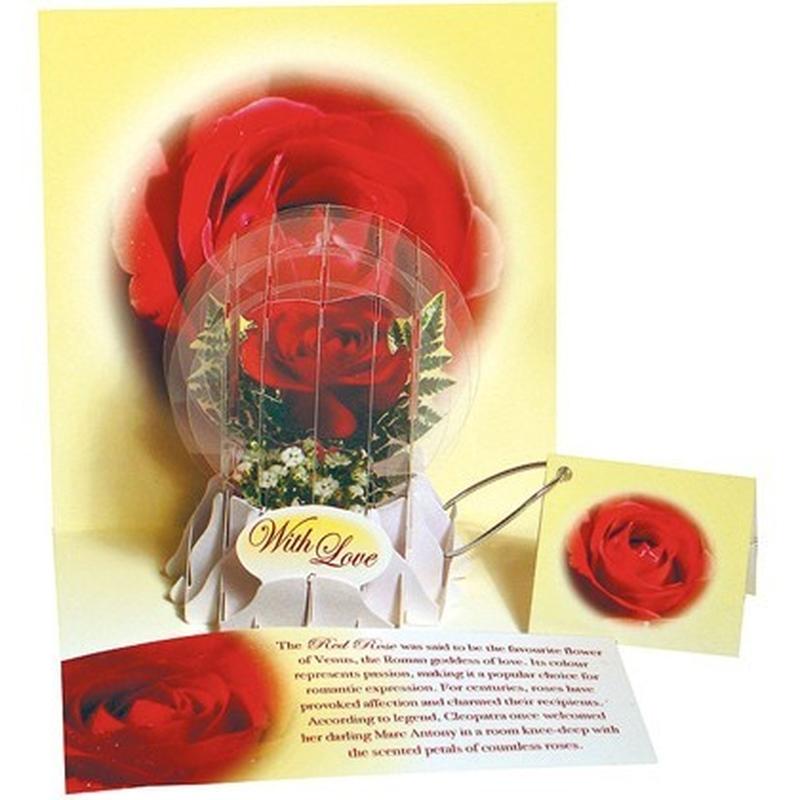 Felicitare 3D tip glob-Trandafir rosu. Cel mai frumos cadou pentru persoana iubita.