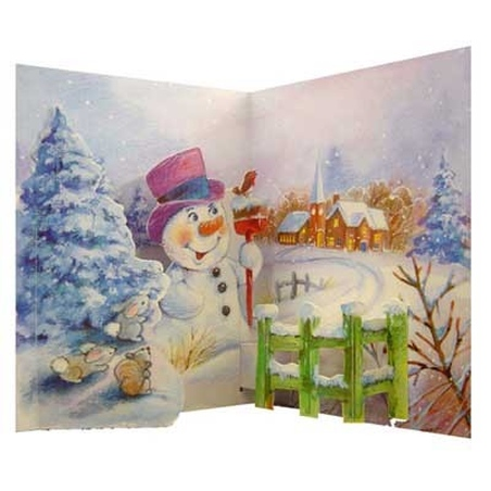 "Felicitare de iarna ""Snowman in scene"""