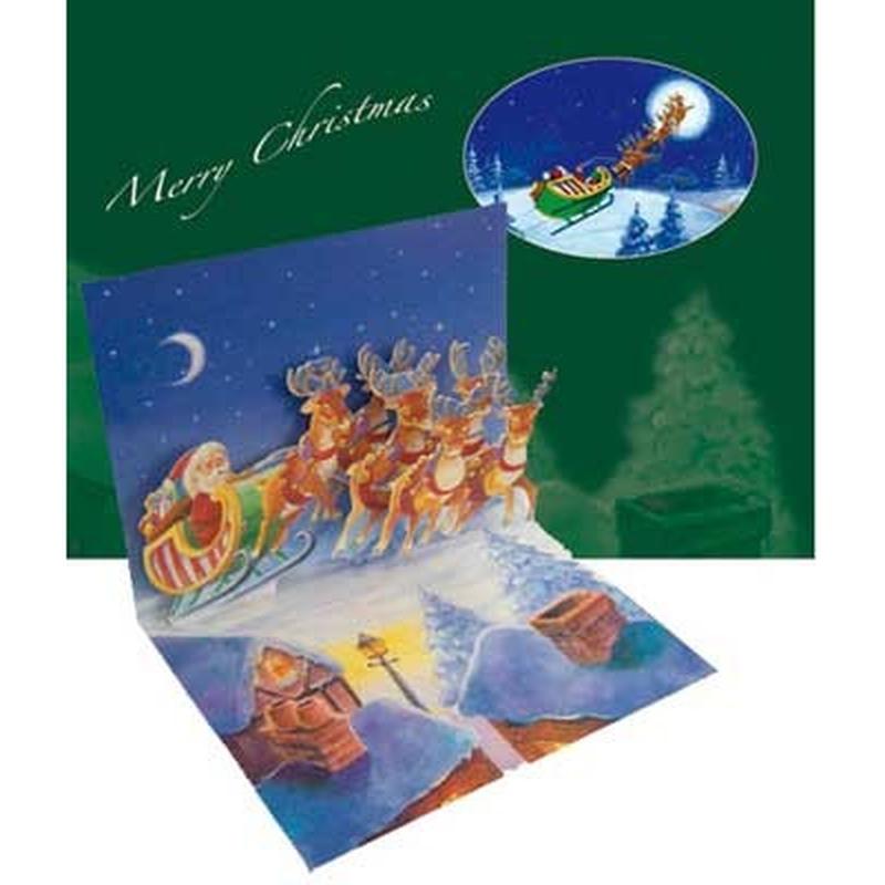 """Felicitare de iarna """"Santa over roof"""". o felicitare care va aduce spiritul Craciunului mai aproape de cei dragi"""