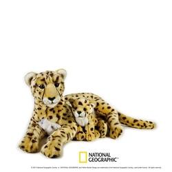 Jucarie din plus National Geographic Ghepard cu pui 50 cm