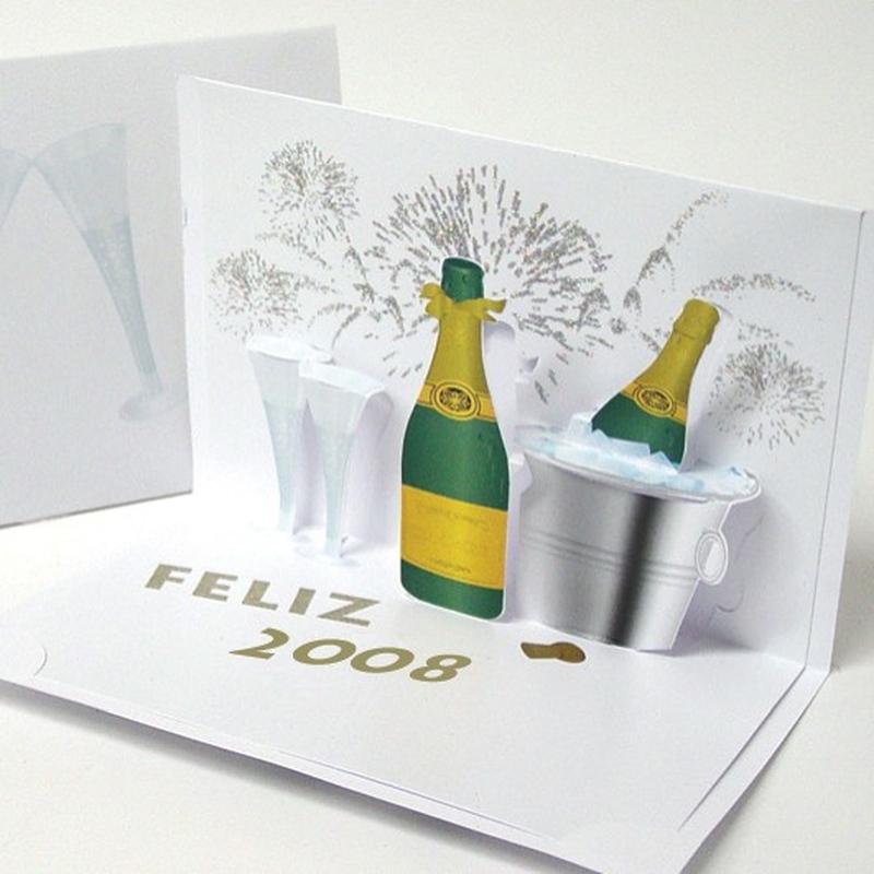 Champagne -O felicitare 3D care iti da sansa sa surprinzi prin spectaculozitatea imaginii.