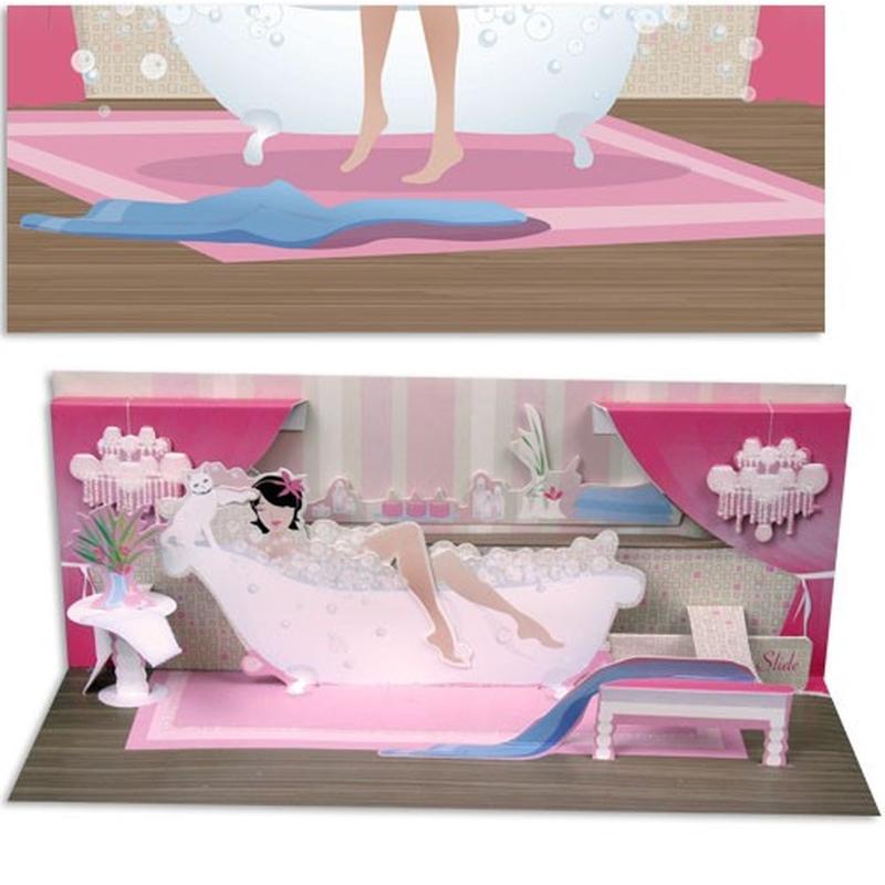 Bathtub. o felicitare draguta cu elemente 3D  pentru cei dragi.