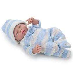 Bebelus Mini nou nascut baiat in costumas alb-albastru