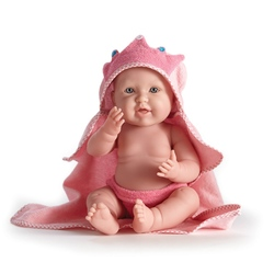 Bebelus fetita cu prosop cu gluga