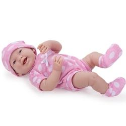 Bebelus fetita in costum roz cu buline albe