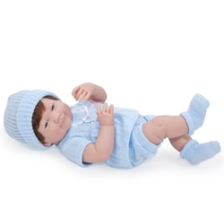 Bebelus baiat costumas albastru tricotat