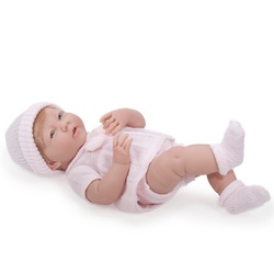 Bebelus fata in costumas roz tricotat