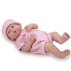 Bebelus costum tricotat roz cu buline albe