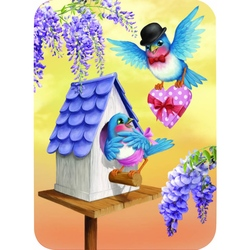 Felicitare Eclectic-Blue Birds