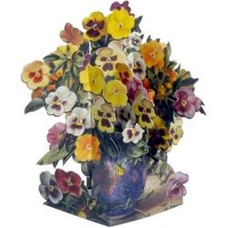 Felicitare 3D-Violete si panselute. O felicitare  draguta pentru persoana iubitoare de flori.