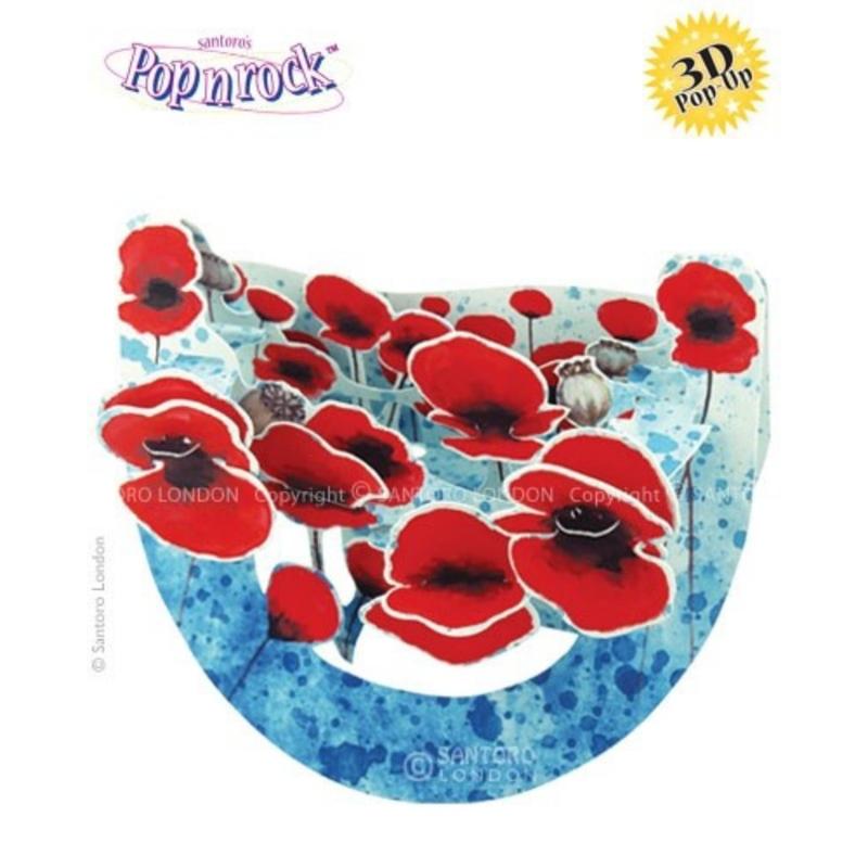 Felicitare 3D Popnrock-Flori de mac