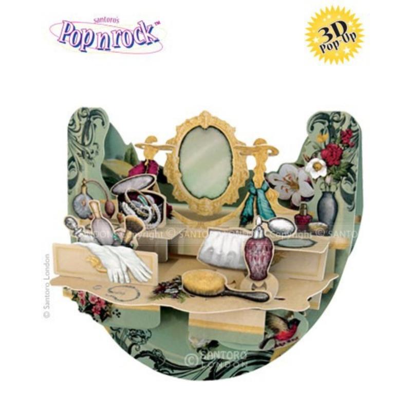 Felicitare 3D Popnrock-Masa de machiaj