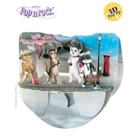Felicitare 3D Popnrock-Pisici in ploaie