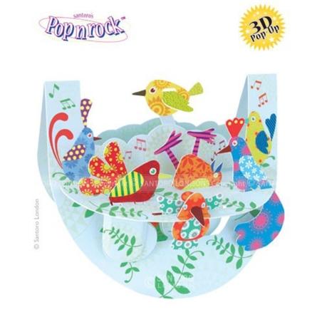Felicitare 3D Popnrock-Pasari Multicolore