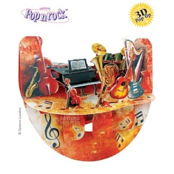 Felicitare 3D Popnrock-Instrumente muzicale. O felicitare cu elemente 3D, mobile si camp pentru mesaj. Ideala pentru cei dragi