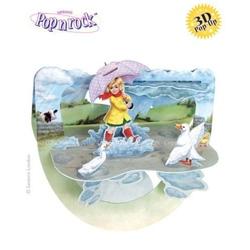 Felicitare 3D Popnrock-Fetita cu umbrela-o felicitarea care ne prezinta o fetita jucandu-se in apa. Pe spate camp pentru mesaj.