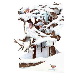 Felicitare 3D Swing Cards dinamica model-Iarna in padure. O felicitare de Iarna pentru cei dragi.