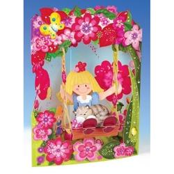 Felicitare 3D Swing Cards dinamica model-Papusa din carpa. O felicitare draguta pentru fetite.