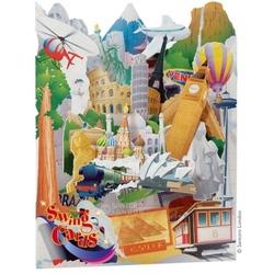 Felicitare superba cu elemente miscatoare-Swing Cards Around the world