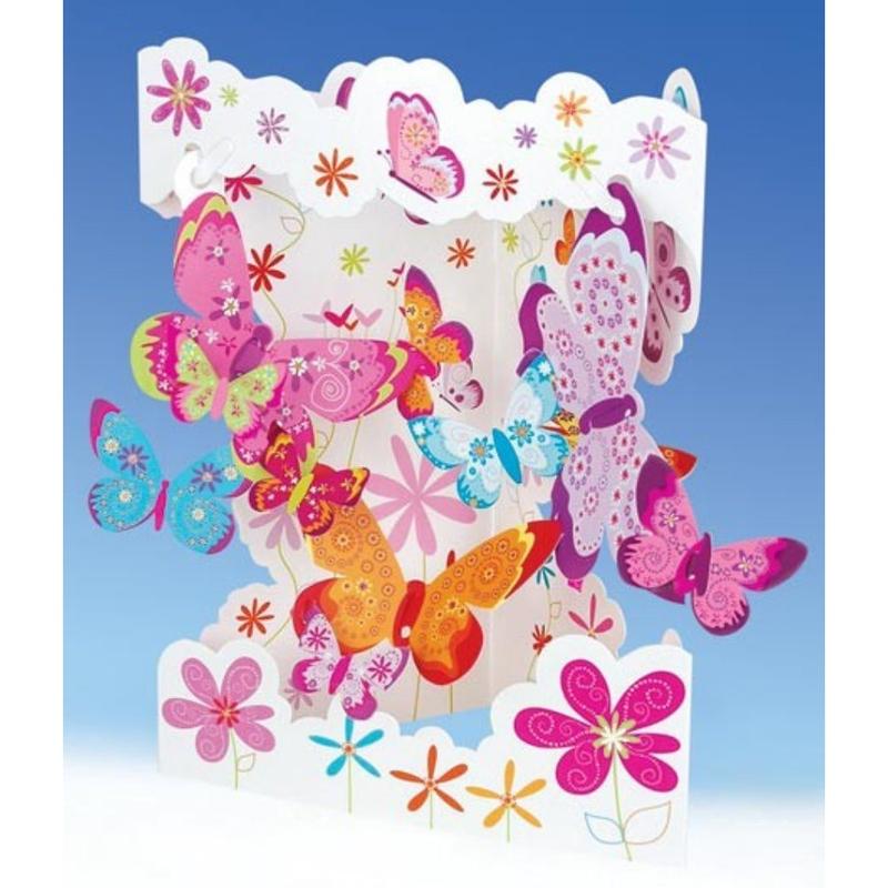 Felicitare 3D Fluturi-Swing Cards. O felicitare draguta, creata pentru copii si adulti