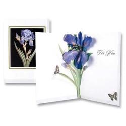 Felicitare 3D floare iris pentru tine. o felicitare invelita in plic, cu elemente tridimensionale si un mesaj deja scris