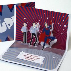 Felicitare 3D stil Origami-Superman