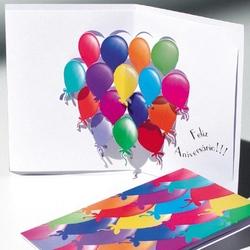 Felicitare 3D stil Origami-Baloane - o felicitare cu elemente 3D si culori vii.