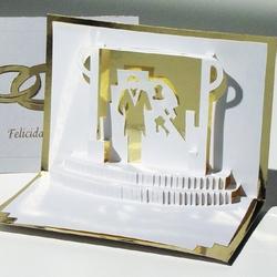 Felicitare 3D stil Origami-Nunta de aur. O felicitare-invitatie la nunta