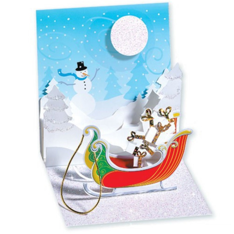 Felicitare 3D pentru iarna-Sania lui Mos Craciun plina cu cadouri