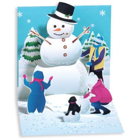 Felicitare 3D pentru iarna-Om de zapada