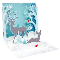 Felicitare 3D pentru iarna-Cerb si caprioara iarna