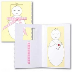 Felicitare 3D Trespanache pentru botez-Bebelus fetita