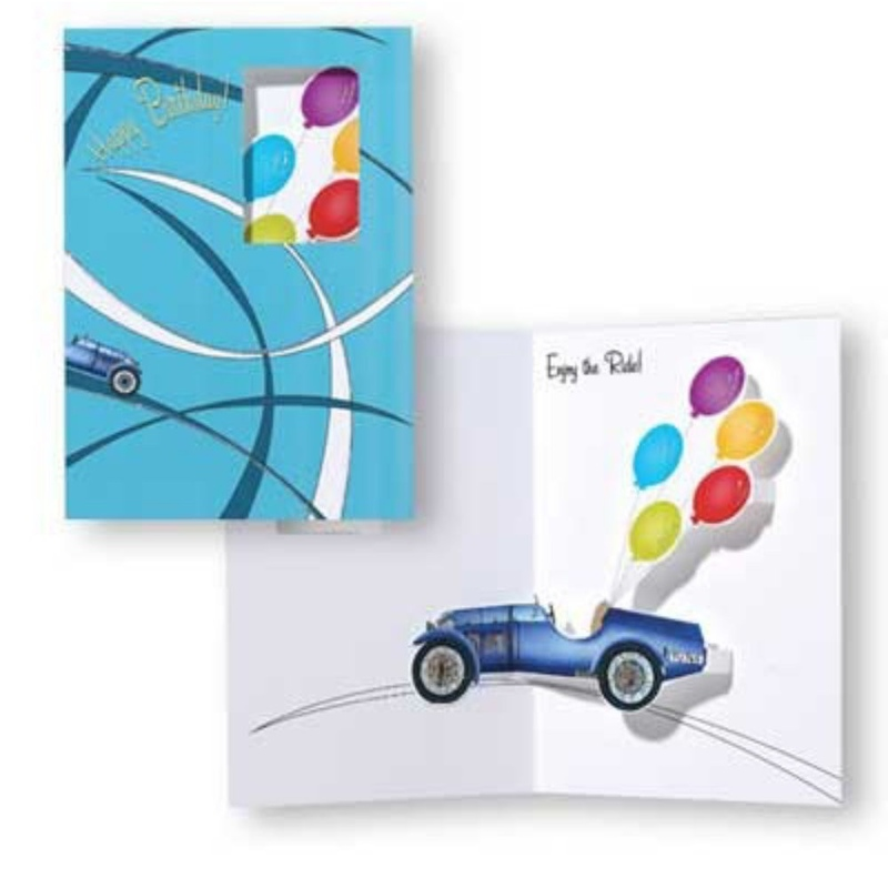 Felicitare 3D Trespanache-Cursa de masini