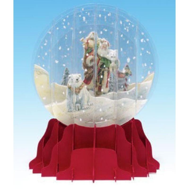 Felicitare 3D tip glob-Mos Craciun cu urs polar