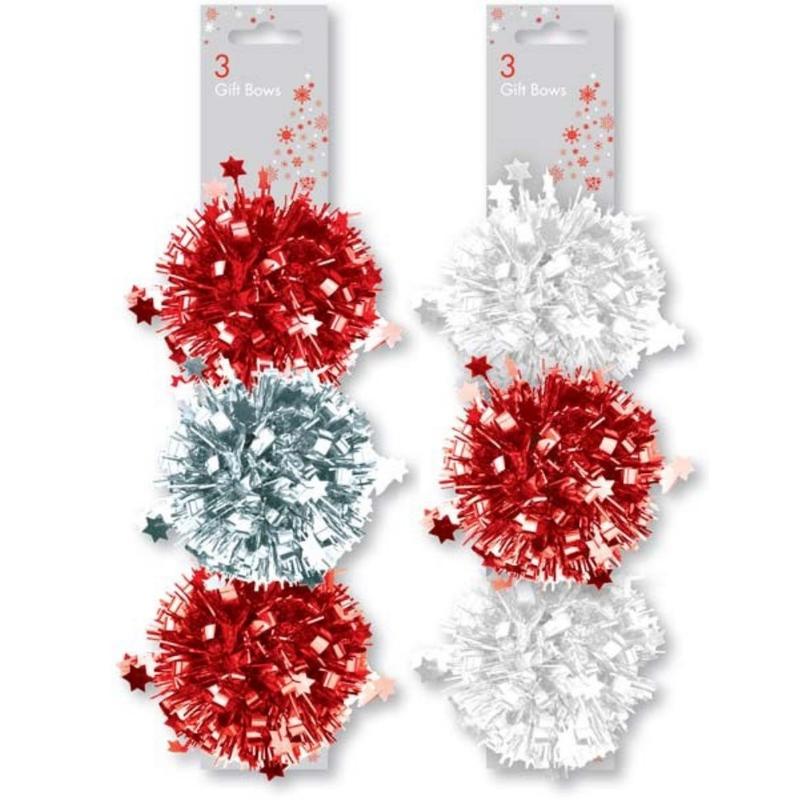 Set 3 pompoane alb-rosu pentru decorarea cadoului