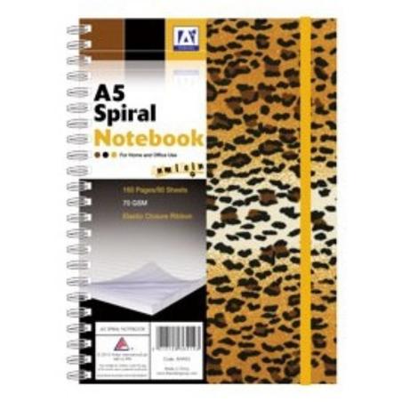 Caiet A5 100 file cu coperti tip safari si banda elastica