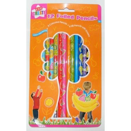 CREIOANE FOILED 8 colorate & 4 creioane cu mina HB