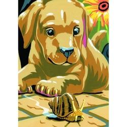 """Prima mea minipictura pe numere junior - 'Labrador si Melc"""""""